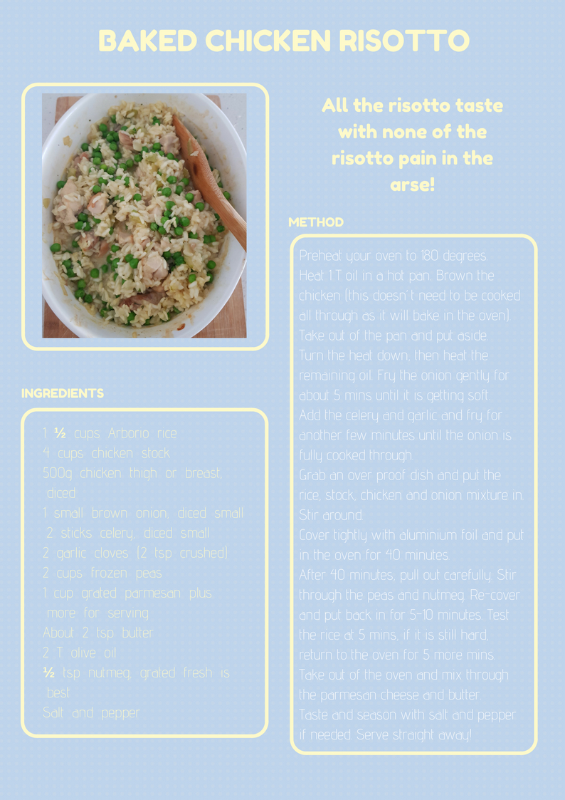 Baked chicken risotto
